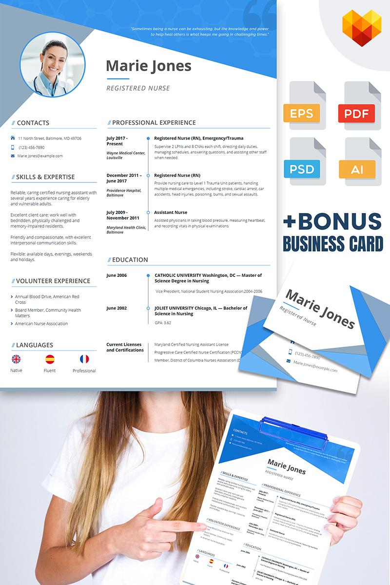 Marie Jones - Professional Nursing And Medical Resume Template Big  Screenshot