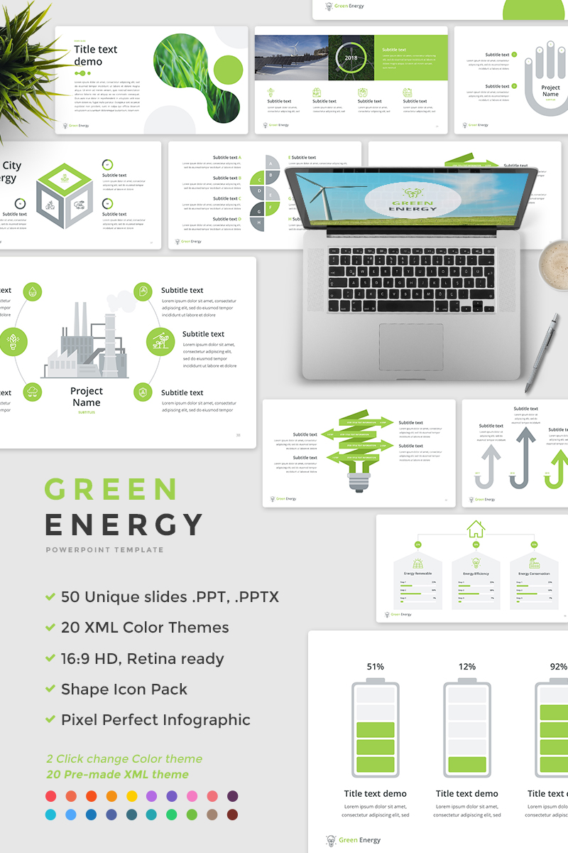 Green Energy PowerPoint Template #65675