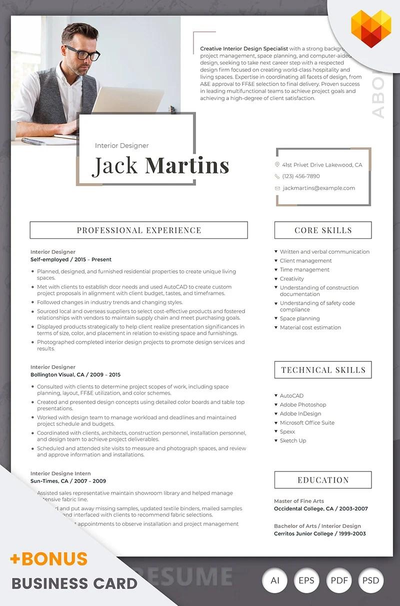 Jack Martins Interior Designer Resume Template #66437