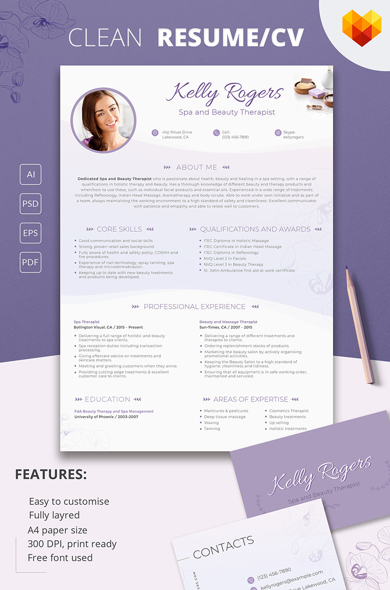 Kelly Ragers Spa And Beauty Therapist Resume Template #66434