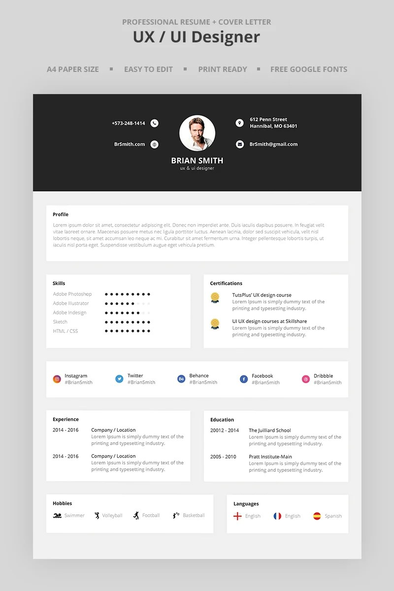 Brian Smith UX UI Designer Resume Template #66981