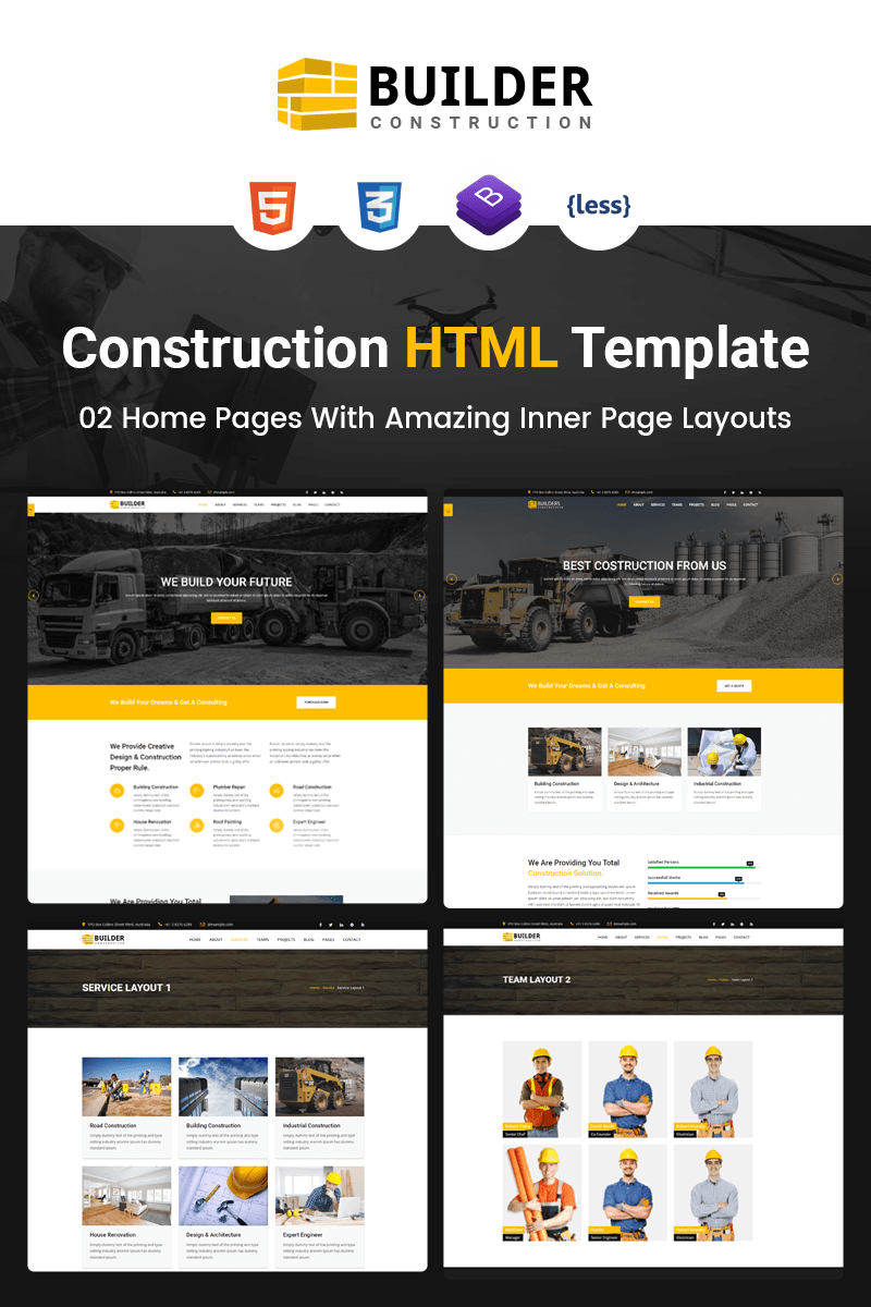Builder Construction Company HTML Website Template 67461