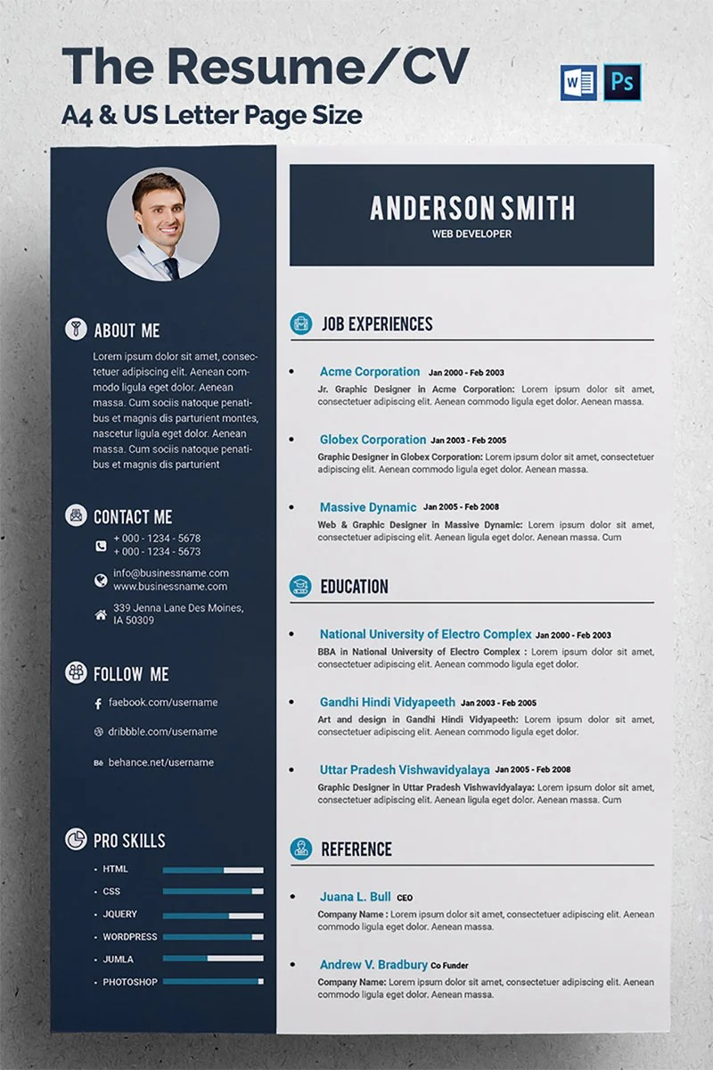 Web Developer CV Resume Template #68317