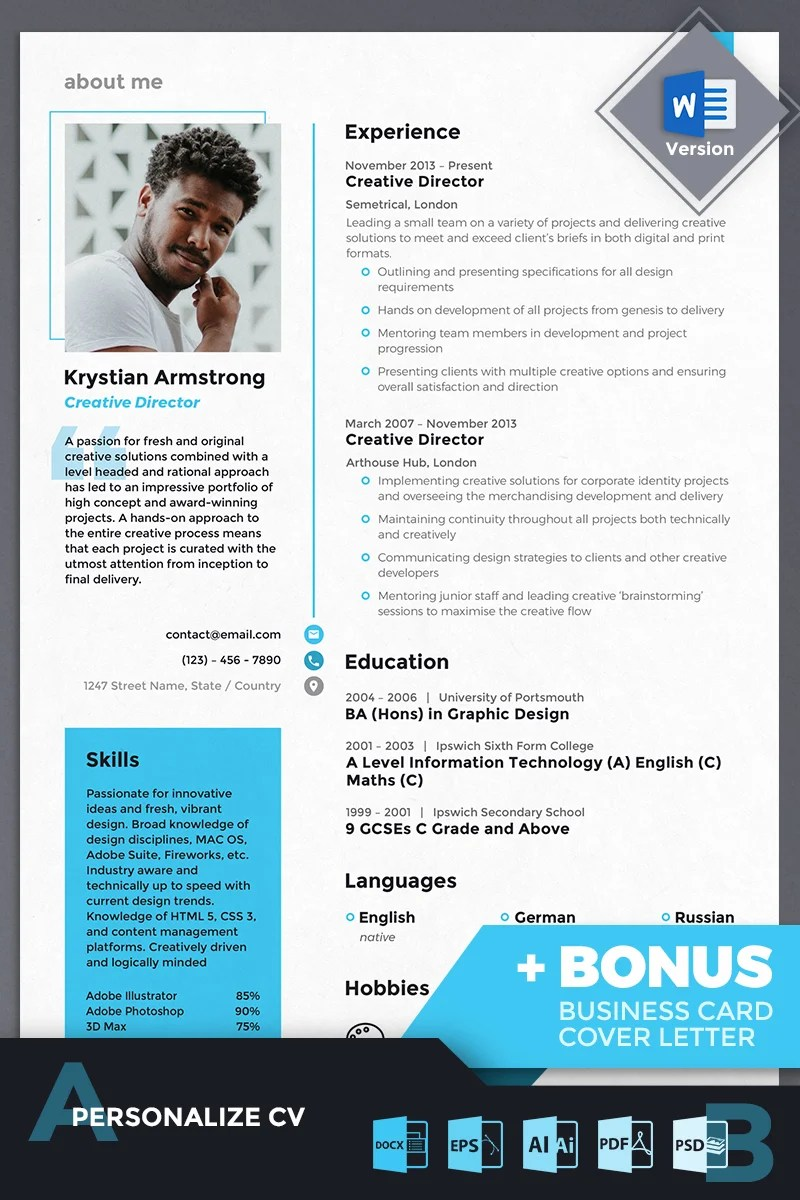 Krystian Armstrong Creative Director Resume Template 69454