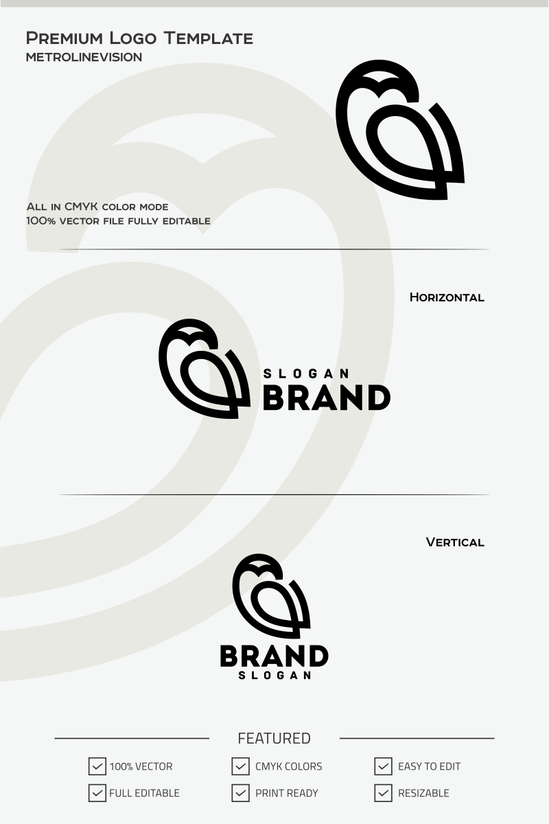 Outline Owl Logo Template #69752