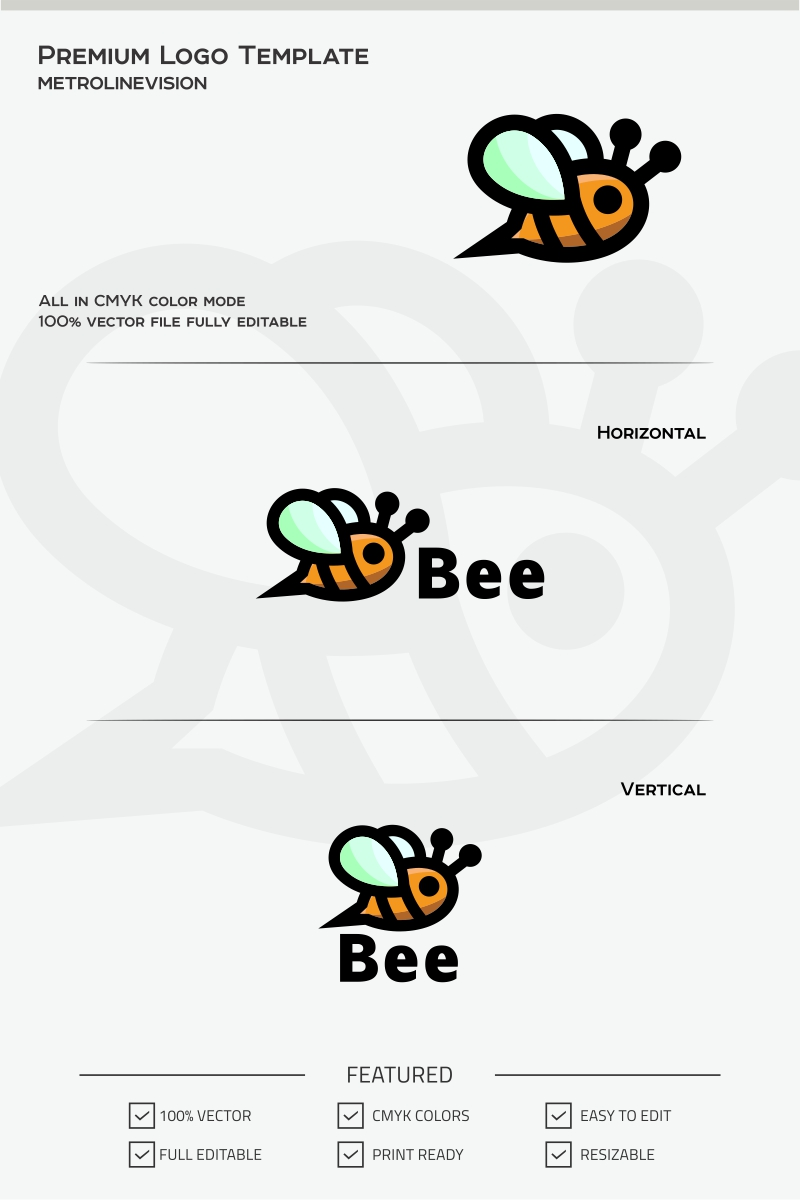 Cute Bee Logo Template #70102