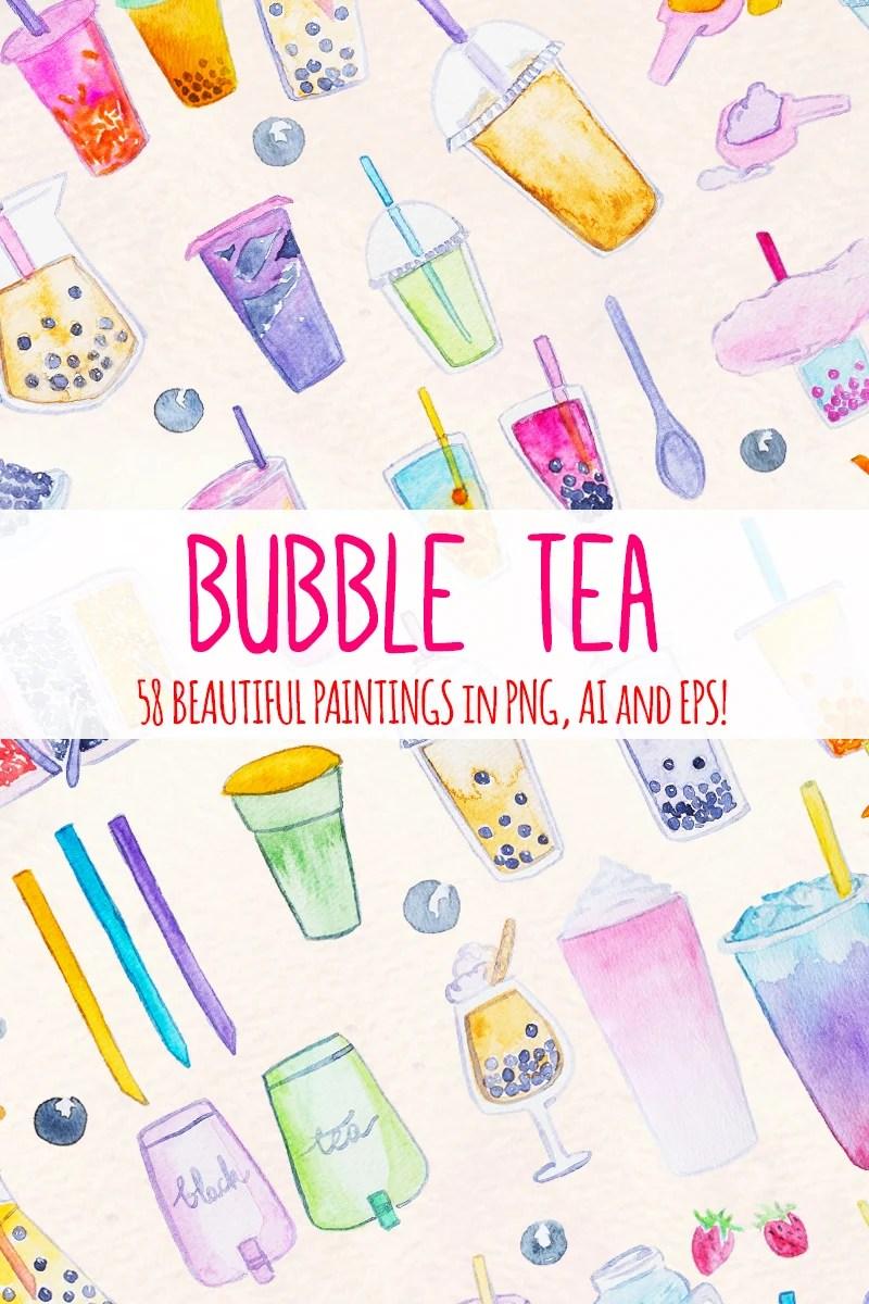 Bubble Tea Watercolor Graphics 58 Clip Art Images