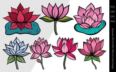 Lotus Flower Clipart Bundle Drawings Illustration #106233