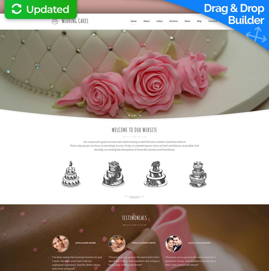 Wedding Cake Website Template With Blog Motocms