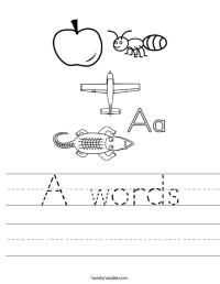 A words Worksheet