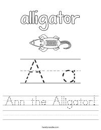 Ann the Alligator Worksheet