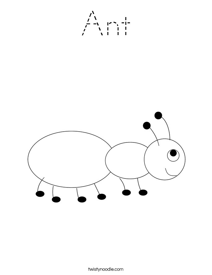 Ant Coloring Page - Tracing - Twisty Noodle