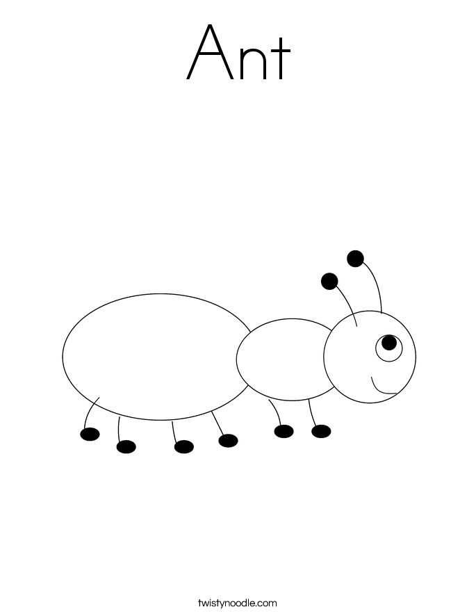 ant coloring page - twisty noodle