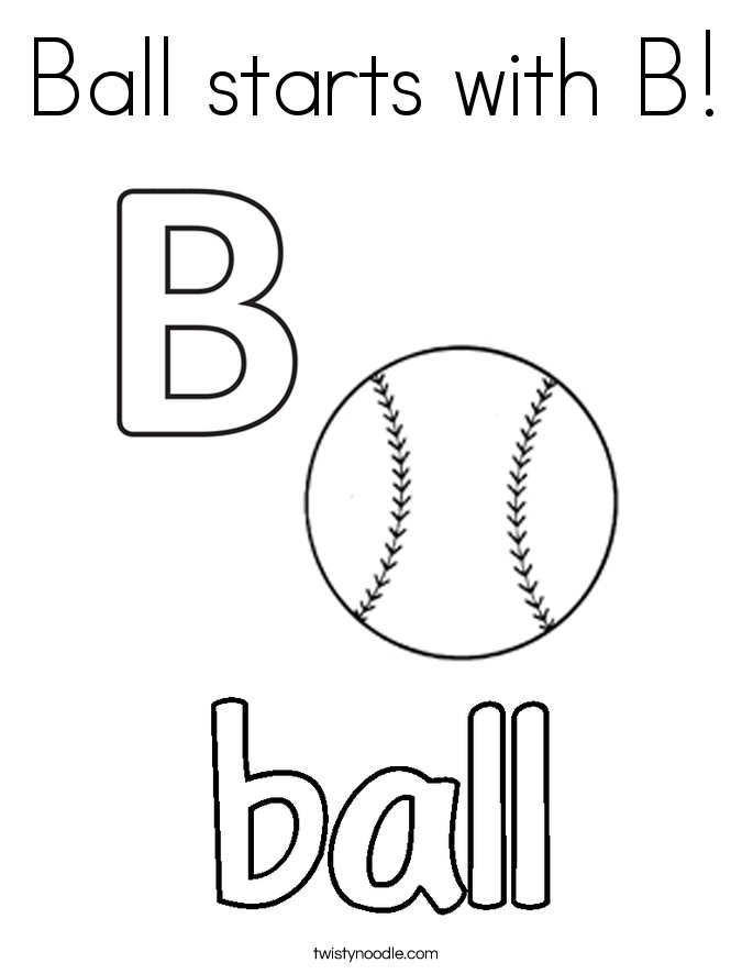 ball starts  b coloring page  twisty noodle