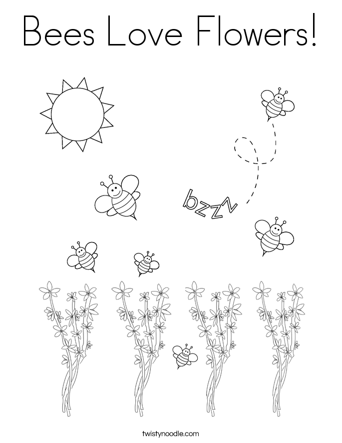 Free Bee And Butterflies Coloring Page