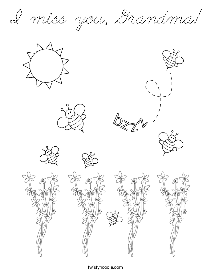 Bee And Flower Pollination Coloring Pages