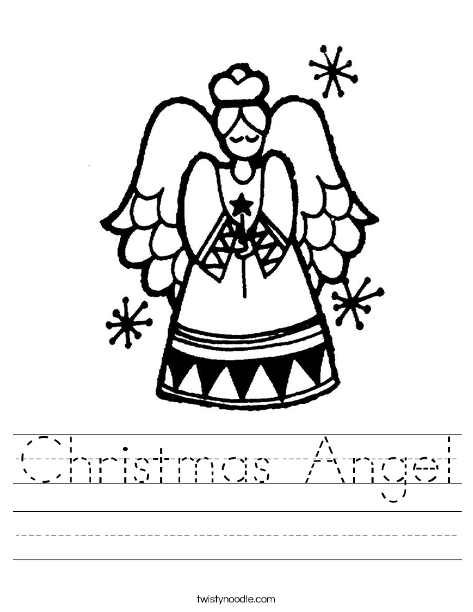 Christmas Angel Worksheet Twisty Noodle