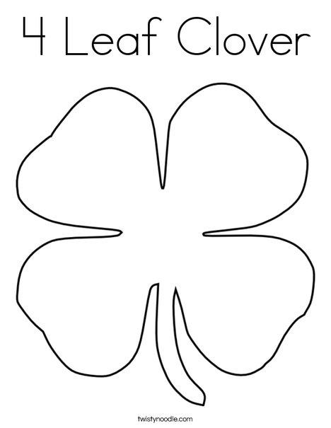 4 Leaf Clover Coloring Page Twisty Noodle