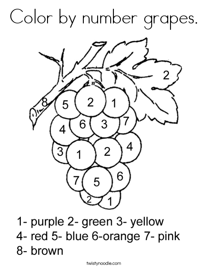 Fruits And Vegetables Grapes Coloring Page