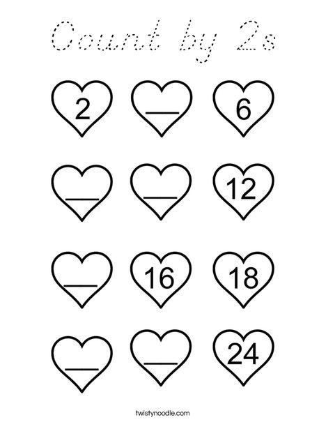 Count By 2s Coloring Page Cursive