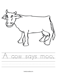 A cow says moo Worksheet