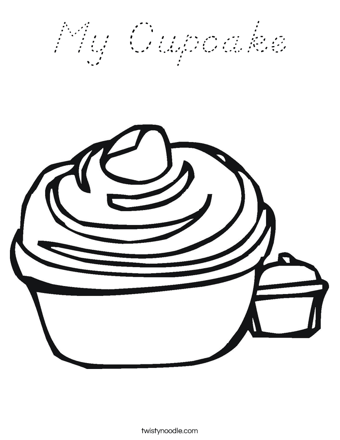 My Cupcake Coloring Page - D'Nealian - Twisty Noodle