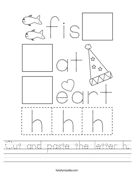 Cut And Paste The Letter H Worksheet Twisty Noodle