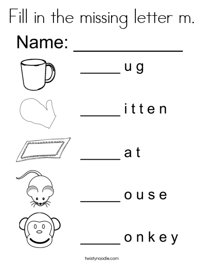 Fill In The Missing Letter M Coloring Page