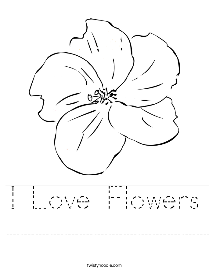 I Love Flowers Worksheet Twisty Noodle