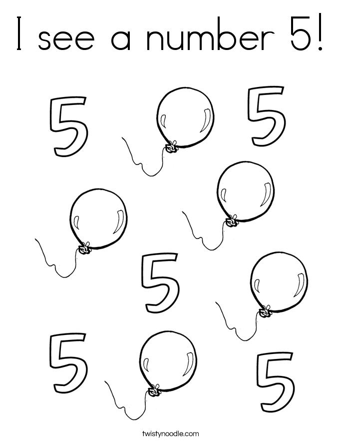 Number 5 Coloring Page Preschool