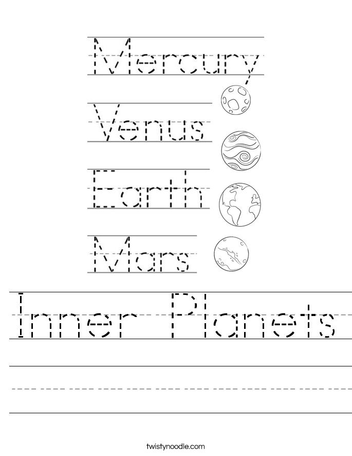 Inner Planets Worksheet