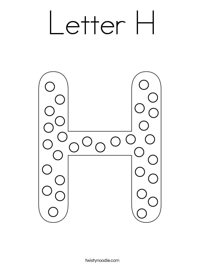 letter h coloring page  twisty noodle