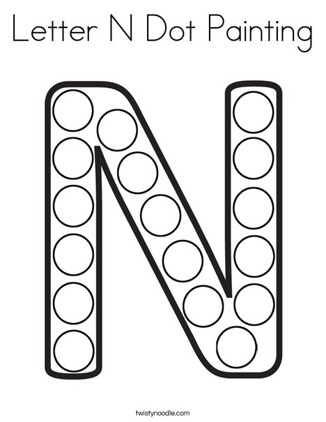 Letter N Dot Painting Coloring Page Twisty Noodle