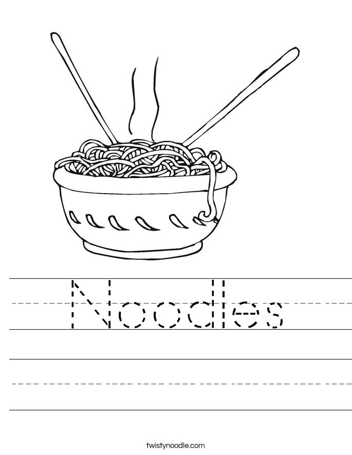 Noodles Worksheet