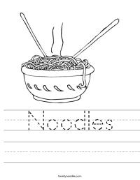 Noodles Worksheet - Twisty Noodle