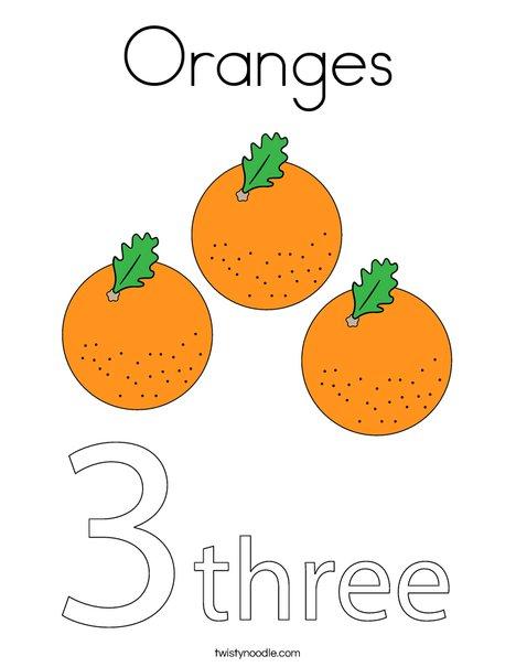 Orange Coloring Page : orange, coloring, Oranges, Coloring, Twisty, Noodle