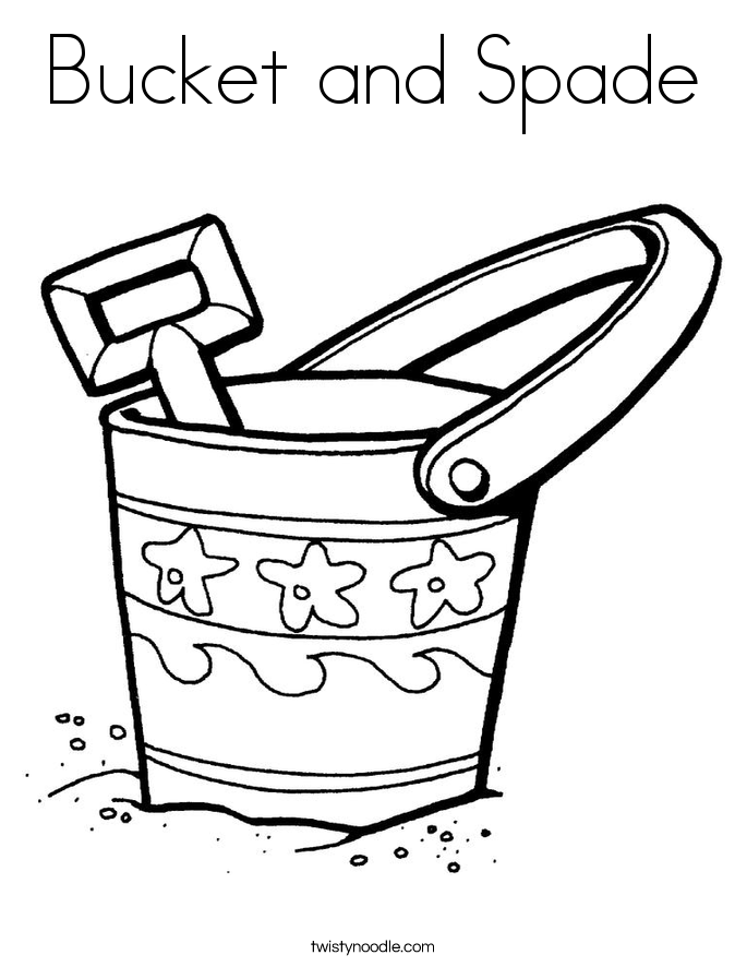 Printable Pail And Shovel Coloring Bucket Page