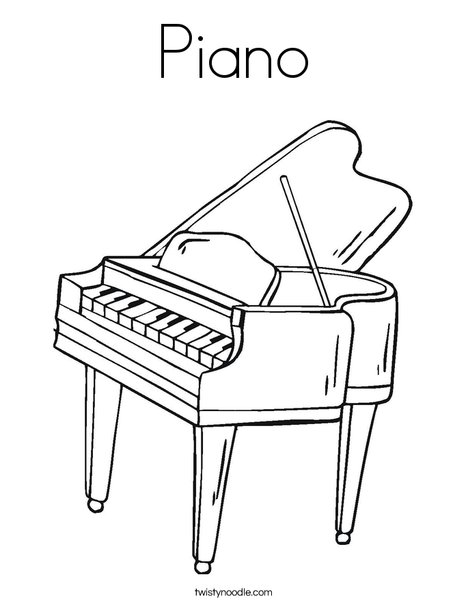 Piano Coloring Page Twisty Noodle