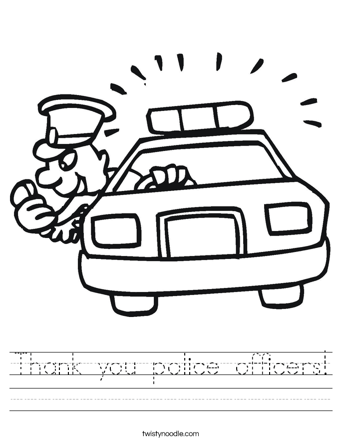 Thank You Police Officer Coloring Page Coloring Pages