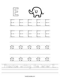 Practice writing the letter E Worksheet - Twisty Noodle