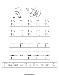 Practice writing the letter R Worksheet - Twisty Noodle