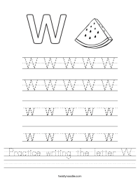Practice writing the letter W Worksheet - Twisty Noodle