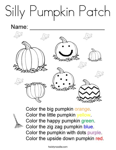 Pumpkin Patch Color Pages : pumpkin, patch, color, pages, Silly, Pumpkin, Patch, Coloring, Twisty, Noodle