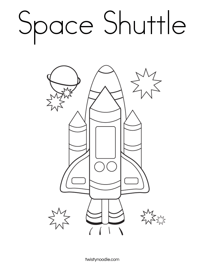 Space Shuttle Coloring Page - Twisty Noodle