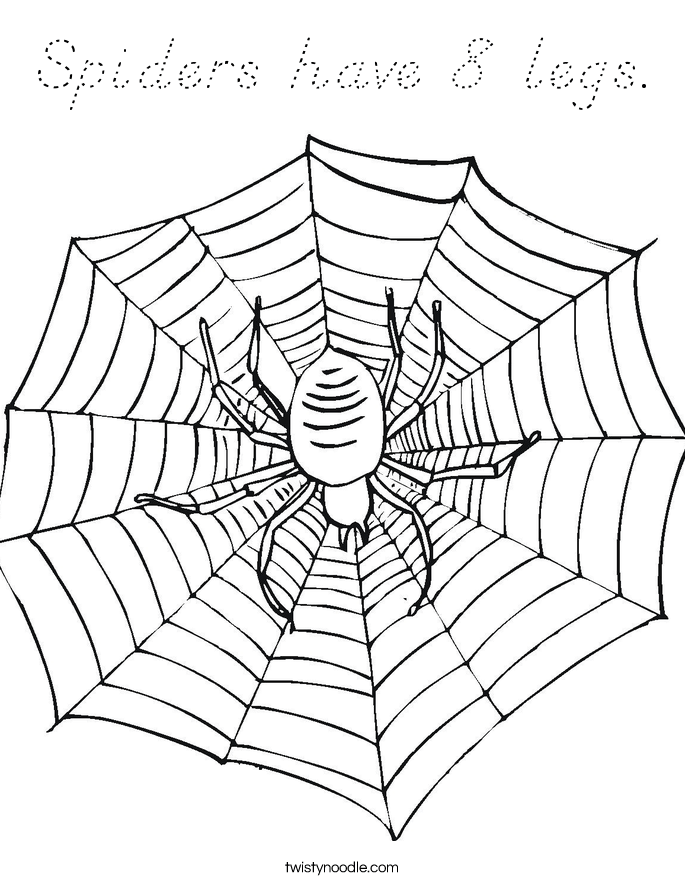 Spiders Have 8 Legs Coloring Page