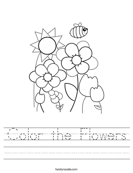 Color The Flowers Worksheet Twisty Noodle