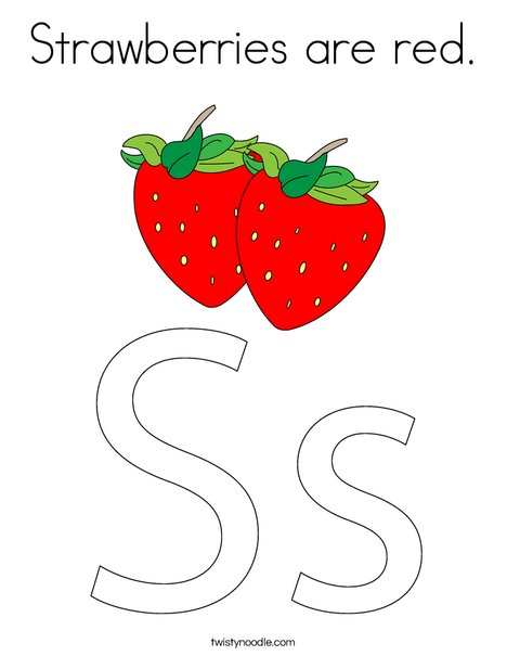 Strawberries Are Red Coloring Page Twisty Noodle