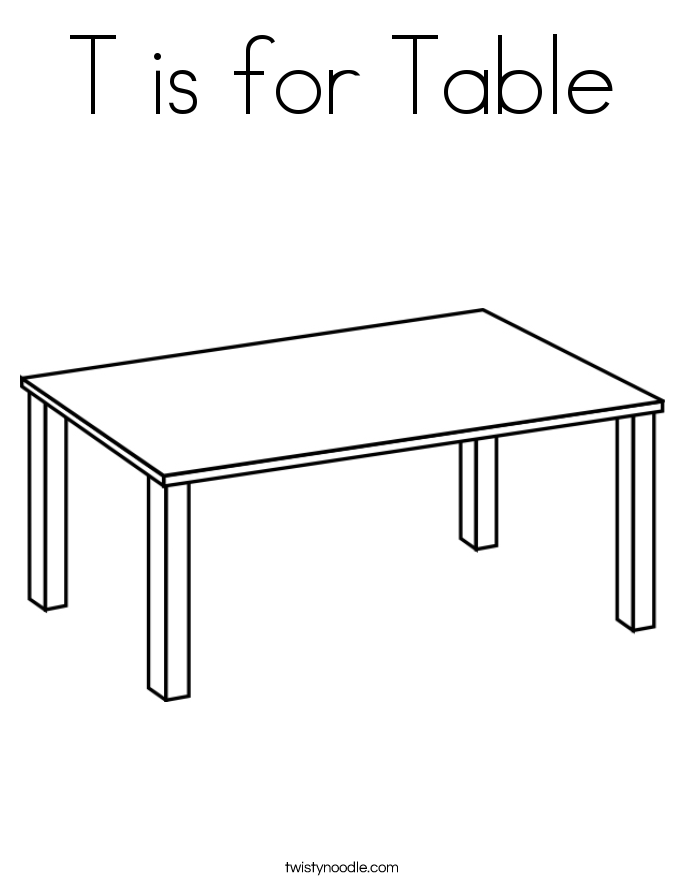 T Is For Table Coloring Page Twisty Noodle