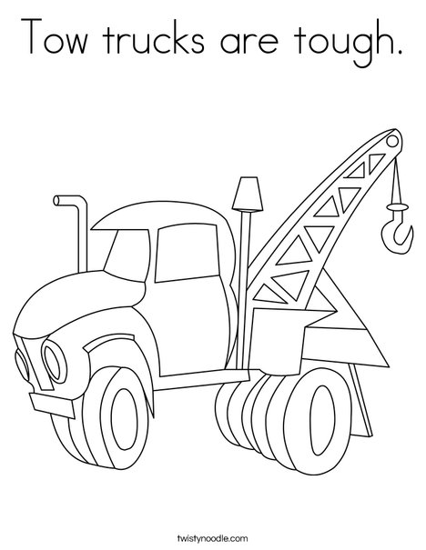 Tow Truck Coloring Page : truck, coloring, Trucks, Tough, Coloring, Twisty, Noodle