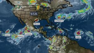 Image result for The 6 tropical storms whirling at once have tied a record